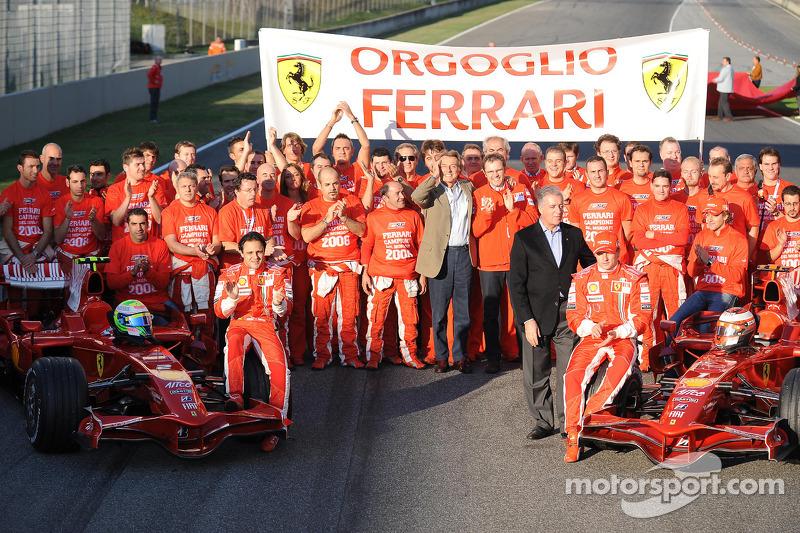 Felipe Massa, Kimi Raikkonen, Marc Gene, Luca Badoer, Luca di Montezemolo, Piero Ferrari, Stefano Do