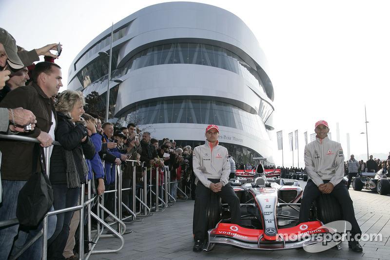 World Champion Lewis Hamilton and his Vodafone McLaren Mercedes team mate Heikki Kovalainen