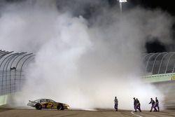 2008 NASCAR Nationwide Series champion Clint Bowyer celebrates