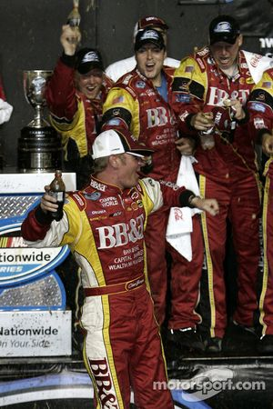 Championship victory lane: 2008 NASCAR Nationwide Series champion Clint Bowyer celebrates