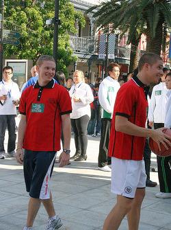 Basketball shootout: Maki and Mortara finding it all very funny