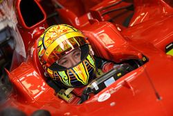 Valentino Rossi in the Ferrari F2008