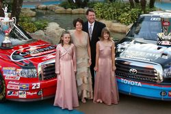 NASCAR Craftsman Truck Series champion Johnny Benson stands with daughter Mikayla, wife Debbie and daughter Katelyn in the Seminole Paradise Courtyard at Seminole Hard Rock Hotel & Casino