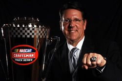 2008 NASCAR Craftsman Truck Series champion Johhny Benson shows off his championship ring
