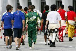 Loic Duval et Nicolas Prost, pilotes de A1 Team France et Adam Carroll, pilote de A1 Team Ireland