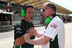 Dave O'Neill and Mark Gallagher, Seat Holder of A1 Team Ireland celebrate pole