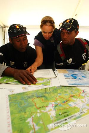 Launceston, Australia: Javith Ababu and Gibson Kemori of team No Roads Expiditions look at their cou