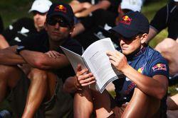 Launceston, Australia: Jan Kubicek and Liewue Boonstra of Team Red Bull check the race programme