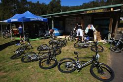 Launceston, Australia: the mountain bikes are prepared
