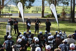 Launceston, Australia: Mark Webber talks to the competitors