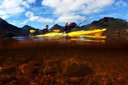 Launceston, Australia: Mark Webber and Emma Weitnauer in action on the kayak leg