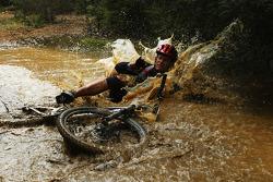 Launceston, Australia: David Crawshay of Team Cascade Green takes a fall
