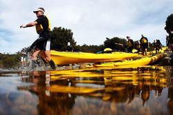 Launceston, Australia: competitors enter Dove Lake with their kayak's