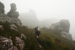Launceston, Australia: competitors cross the peak of Mount Claude