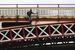Launceston, Australia: Jan Kubicek of Team Redbull in action on the bridge climb