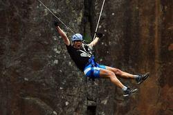 Launceston, Australia: Deanna Blegg of Team Keen screams as she takes the cliff jump