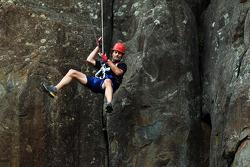 Launceston, Australia: Mark Webber of Team Pure Tasmania takes the cliff jump