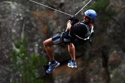 Launceston, Australia: Daniel MacPherson of Team Pure Tasmania takes the cliff jump
