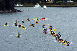 Port Arthur, Australia: competitors battle for position at the start of the kayak section