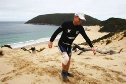 Port Arthur, Australia: a Team Europcar member climbs to the top of a sand dune