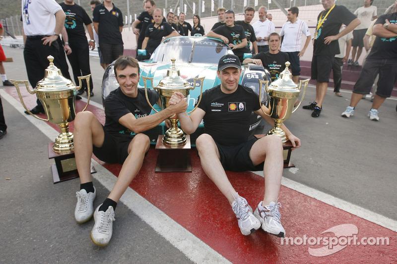 GT1 champions Andrea Bertolini and Michael Bartels celebrates
