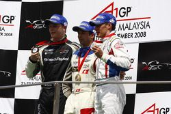 Podium: race winner Neel Jani, second place Loic Duval, third place Earl Bamber