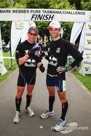 Hobart, Australia: Jan Kubicek and Lieuwe Boonstra of Team Red Bull at the finish line