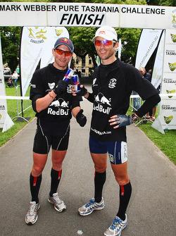 Hobart, Australia: Jan Kubicek and Lieuwe Boonstra of Team Red Bull at the finish line