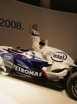 BMW Sauber F1 Team driver Robert Kubica with the BMW Sauber F1 car
