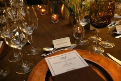The place setting for NASCAR Sprint Cup Series champion Jimmie Johnson is ready at the Chef's Table