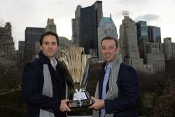 Jimmie Johnson and Chad Knaus pose with the NASCAR Sprint Cup Series trophy in Central Park in front