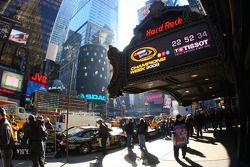 In New York City's Times Square, the Hard Rock Cafe's marquee hosts a Tissot Countdown Clock, counti