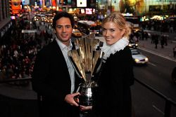 2008 NASCAR Srint Cup Series Champion winner Jimmie Johnson and his wife Chandra hold the championsh
