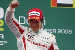 Podium: race winner Kamui Kobayashi celebrates