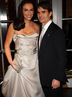 Jeff Gordon and his wife Ingrid Vandebosch, hit the yellow carpet at the NASCAR Sprint Cup Series Awards Ceremony at the Waldorf Astoria