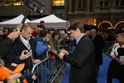 Carl Edwards signs autographs for fans following the 2008 NASCAR NMPA Myers Brothers Awards at Cipri
