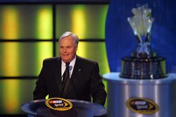 Rick Hendrick, 2008 NASCAR Sprint Cup Champion team owner, speaks to the crowd during the NASCAR Spr
