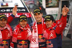 Podio: Sébastien Loeb y Daniel Elena, Daniel Sordo y Marc Marti