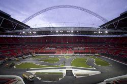 construction de la piste au stade Wembley