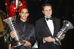 FIA Formula 1 World champion Lewis Hamilton, and FIA Formula 1 World Championship winning constructor Ferrari Team director Stefano Domenicali