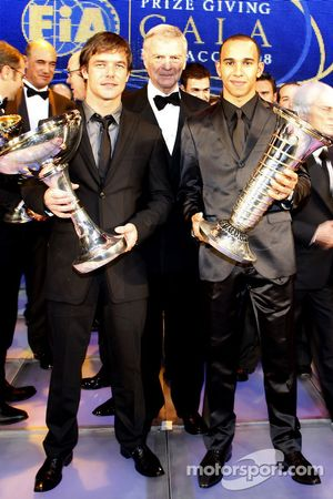 FIA World Rally champion Sébastien Loeb, FIA President Max Mosley and FIA Formula 1 World champion Lewis Hamilton