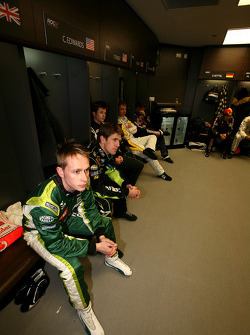 Adam Carroll in the drivers' briefing