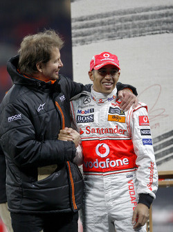 Frederik Johnson with Lewis Hamilton