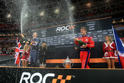 Race of Champions winner Sébastien Loeb and second place David Coulthard spray champagne
