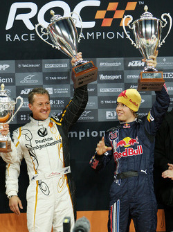 Podium: Nations Cup winners Michael Schumacher and Sebastian Vettel