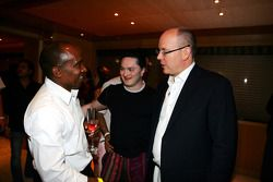 Anthony Hamilton and HSH Prince Albert of Monaco on the Fly Kingfisher boat party on the Indian Empress