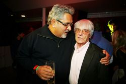Dr Vijay Mallya Force India F1 Team Owner with Bernie Ecclestone F1 Supremo at the Fly Kingfisher Bo