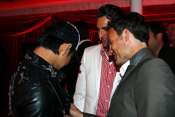 Sakon Yamamoto Renault Test Driver and Adrian Sutil Force India F1 at the Fly Kingfisher Boat Party