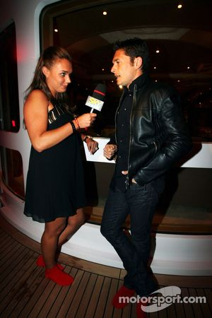 Tamara Ecclestone Sky Sport Television Presenter and Giancarlo Fisichella Force India F1 at the Fly