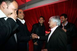Bernie Ecclestone F1 Supremo and Giancarlo Fisichella Force India F1 at the Fly Kingfisher Boat Part